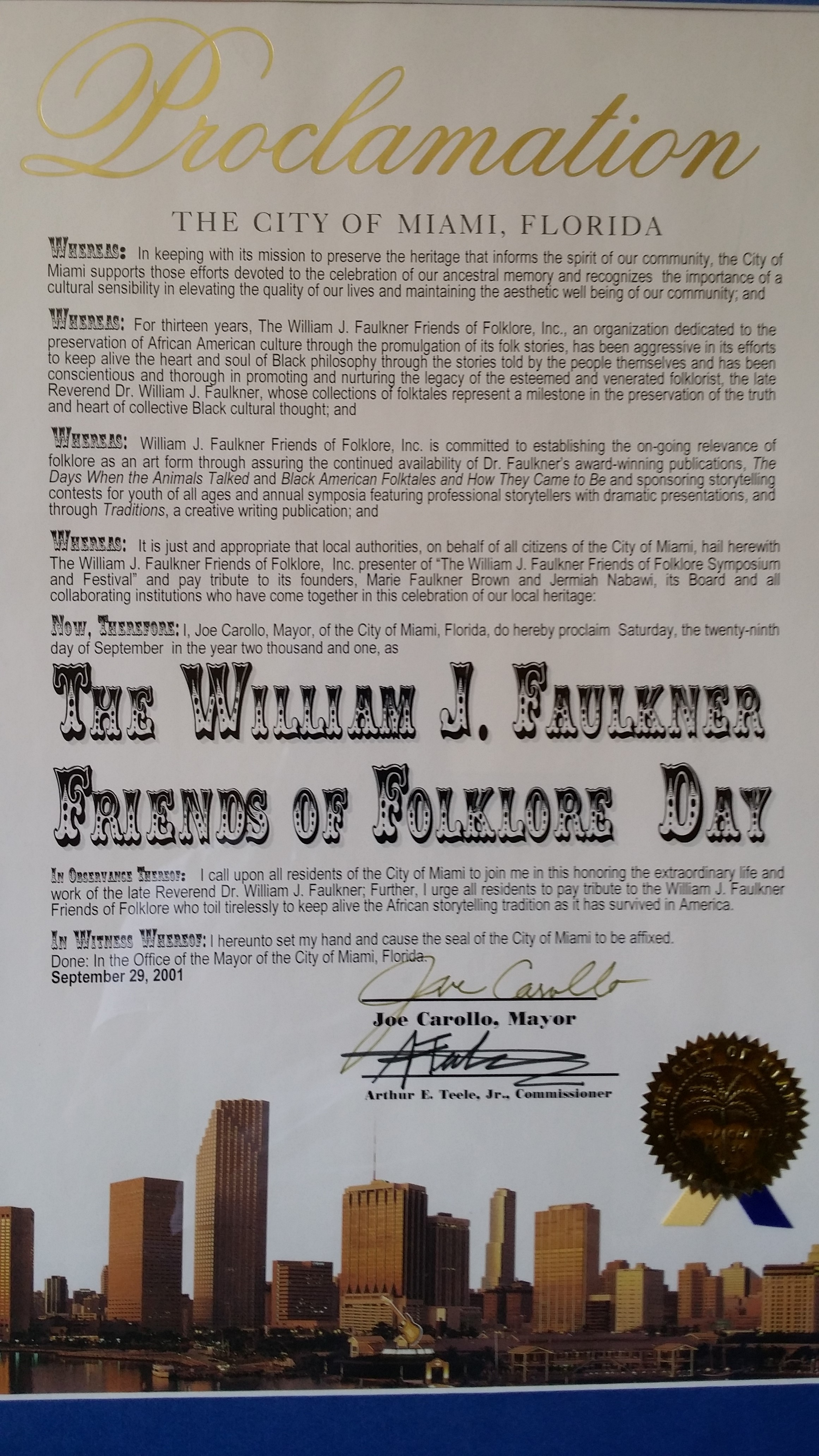 Thank you, Wm. J. Faulkner Friends of Folklore . . .
