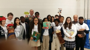 Teens for Literacy (T4L) with Dr. Linda Ann McCall, Dr. Hobe, and T4L founder, Dr. Berger, sponsor Storyteller J'miah Nabawi's school visit right this past December, 2014.